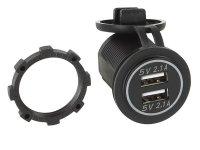 DUAL USB CAR CHARGER 12V / 24V 4.2A / GREEN (BULK) (1PCS)