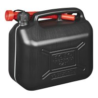 FUEL CAN 10L PLASTIC BLACK UN-APPROVED (1PC)