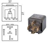 MINI CONTACT MAKE RELAY 12V 30A 5-POLES (1PC)