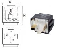 MINI CONTACT MAKE RELAY 24V 20A WITH FUSE 4-POLE (1PC)