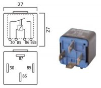 MINI CONTACT MAKE RELAY 24V 20A WITH RESISTOR 4 POLES (1PC)