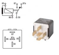 MINI INTERCHANGE RELAY 24V 10 / 20A WITH RESISTOR 5 POLES (1PC)