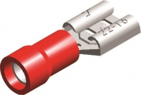 PVC ECONOMY HALF-INSULATED FEMALE DISCONNECTORS RED 6,3X0,8 (100)