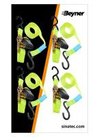 STRAP WITH RATCHET + 2 HOOKS 5 METER SET OF 4 PIECES (1PC)
