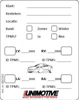 UNIMOTIVE BANDSTICKER + TPMS UITING (250ST)
